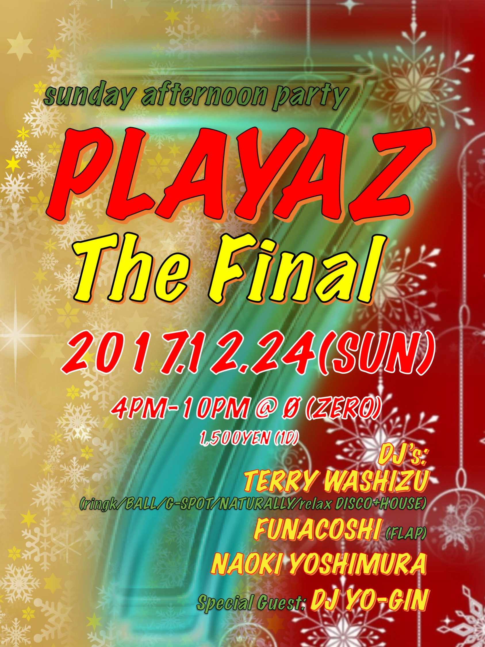 "sunday afternoon party ""PLAYAZ"" The Final"