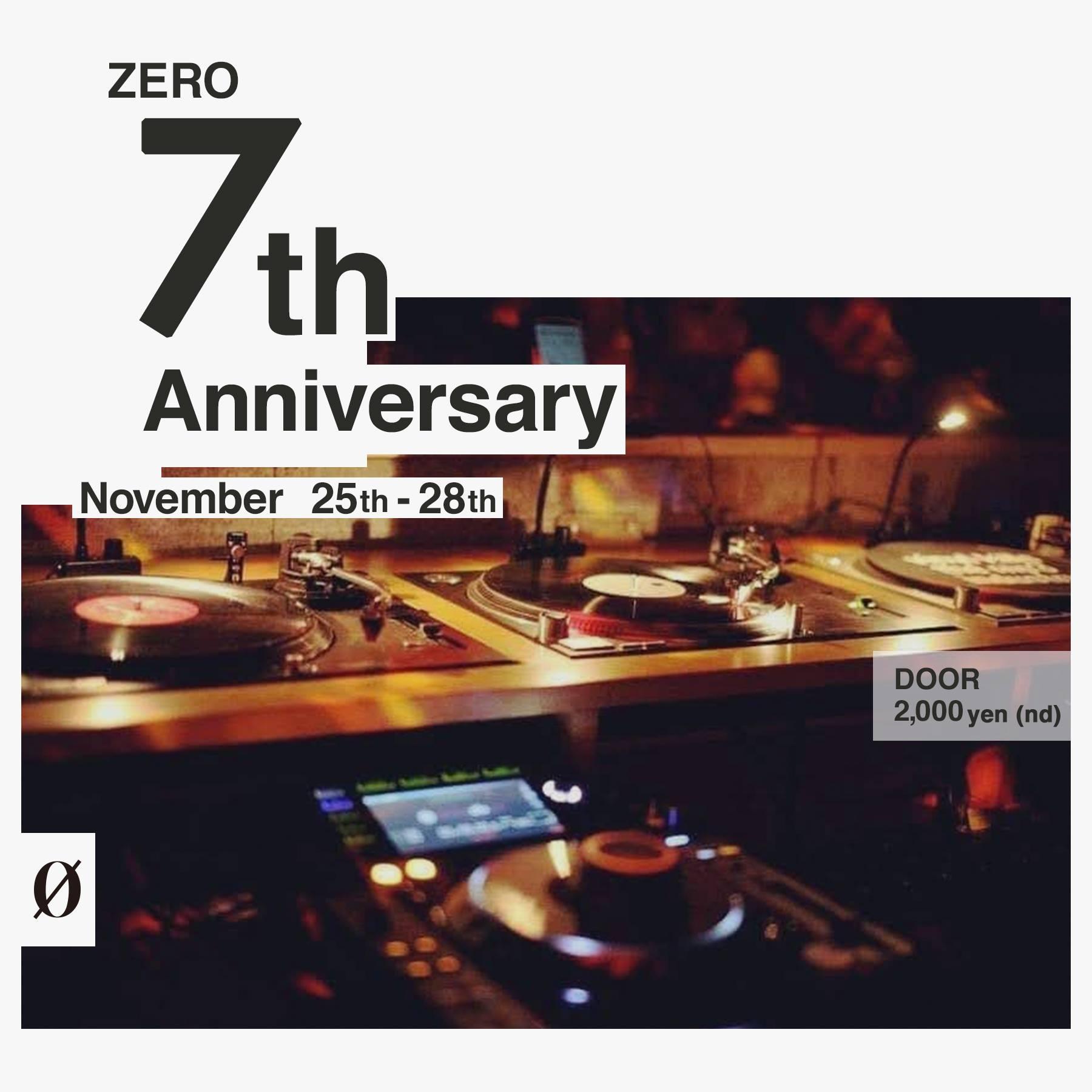 11月25日(水)〜11月28日(土)の4日間『ZERO 7th Anniversary Party』を開催させて頂きます。