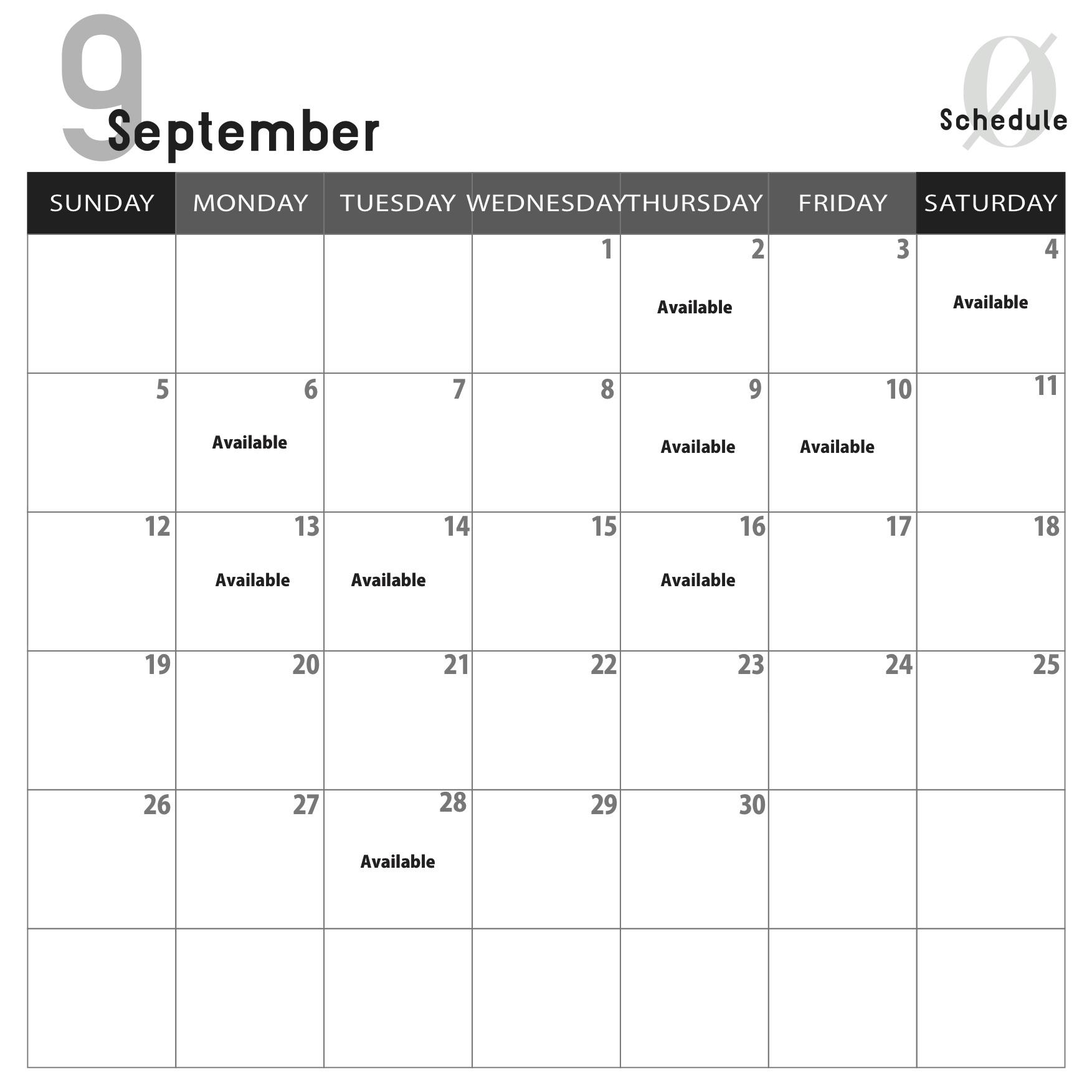 9月スペースレンタルご利用案内
